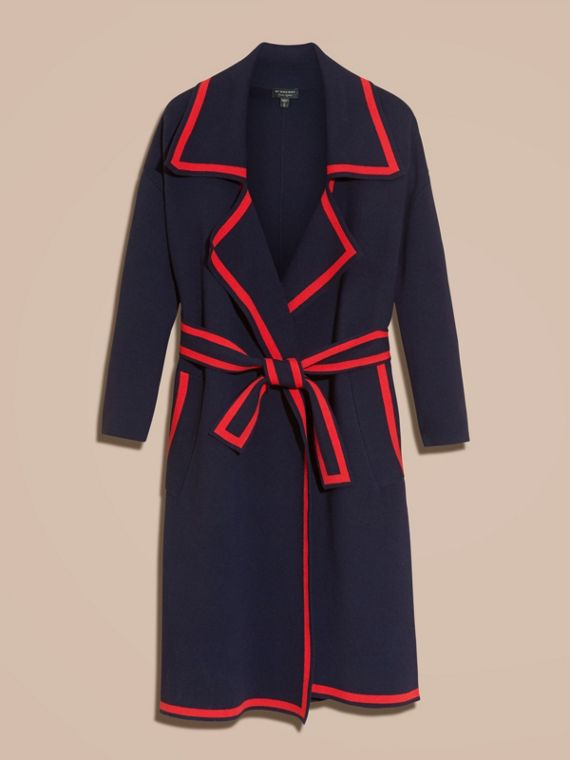 Navy Stretch Wool Cashmere Wrap Cardigan Coat - cell image 3
