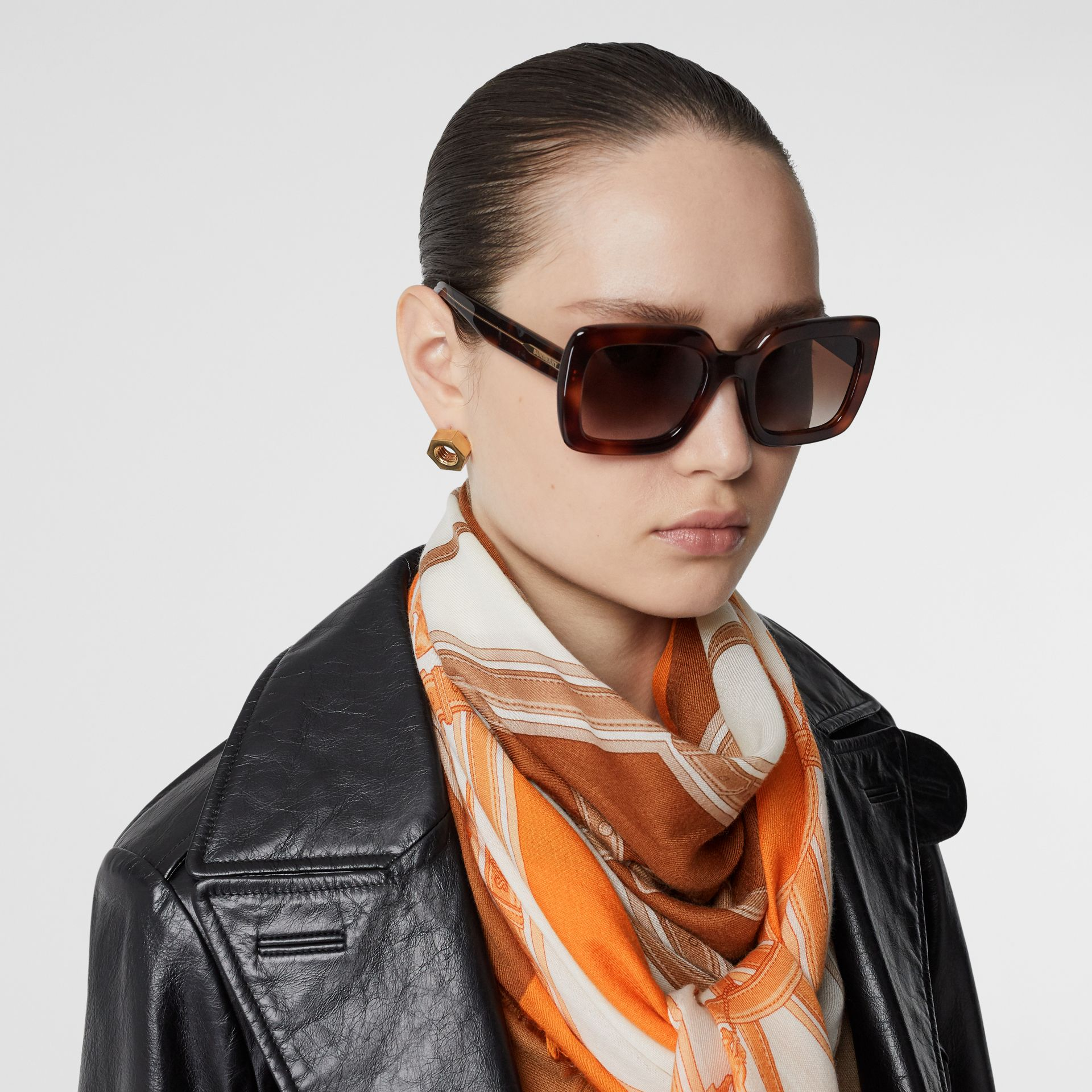Archive Scarf Print Cashmere Large Square Scarf in Orange | Burberry United States - gallery image 2