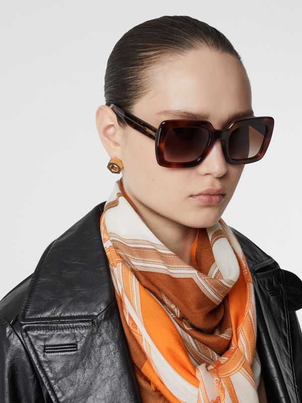 Archive Scarf Print Cashmere Large Square Scarf in Orange | Burberry United States - cell image 2