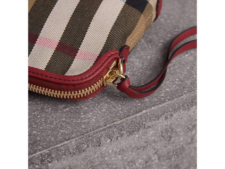 House Check and Leather Clutch Bag in Russet Red - Women | Burberry - cell image 1