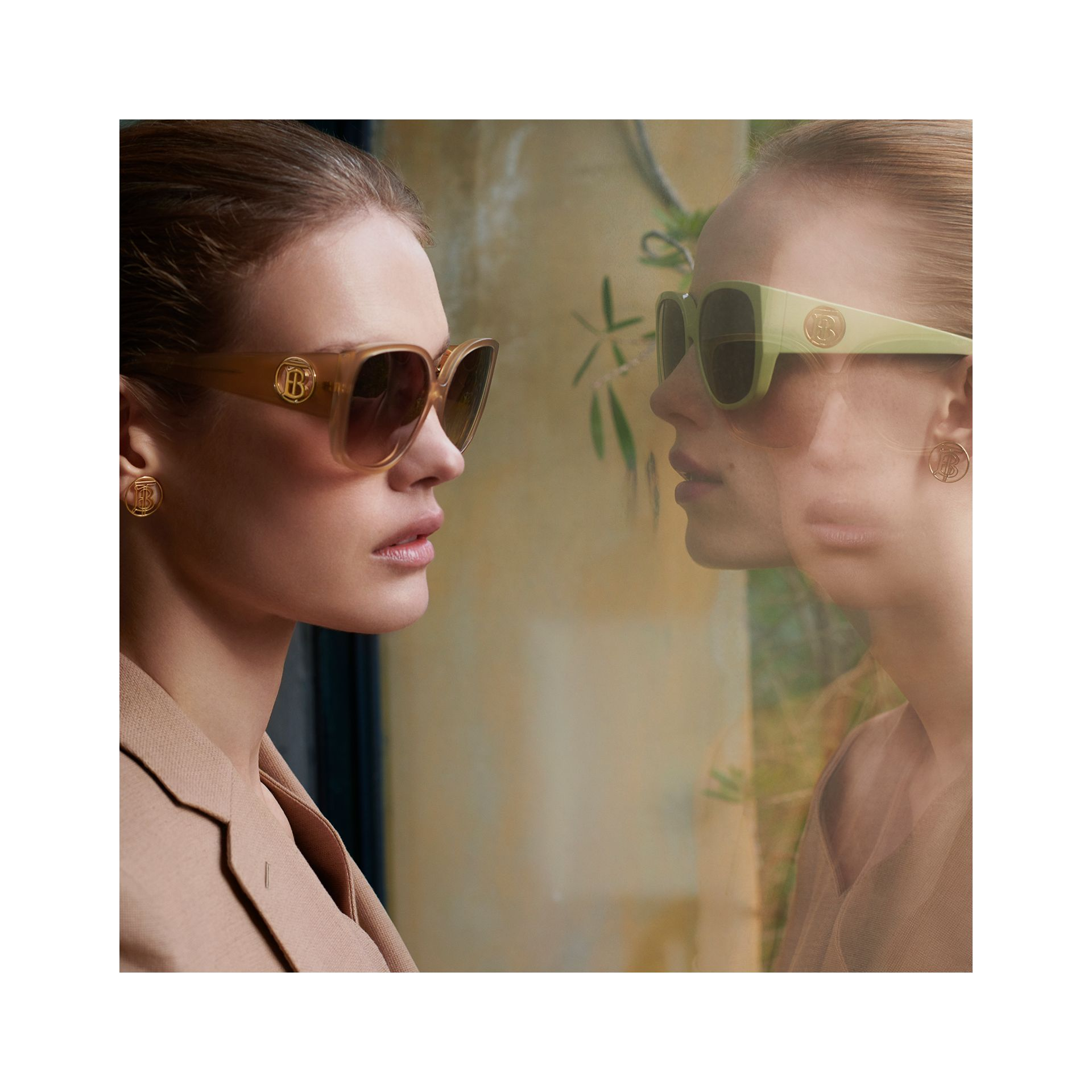 Oversized Butterfly Frame Sunglasses in Beige - Women | Burberry - gallery image 1