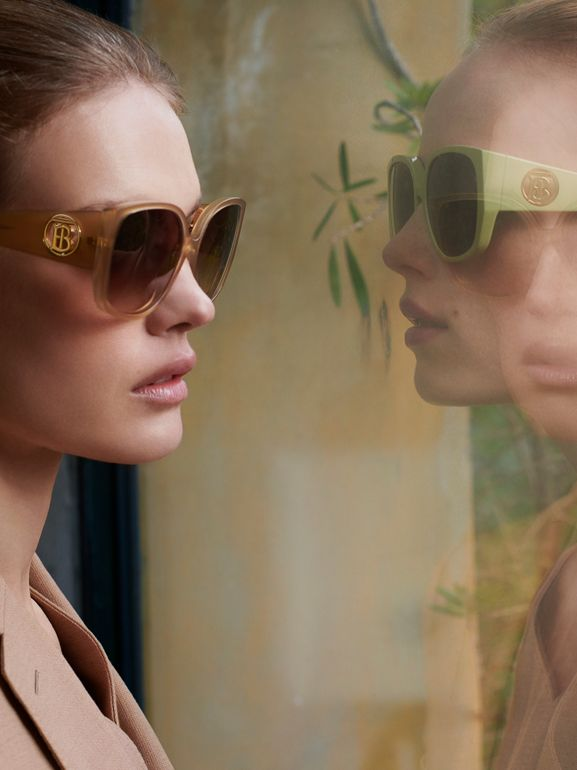 Oversized Butterfly Frame Sunglasses in Beige - Women | Burberry - cell image 1