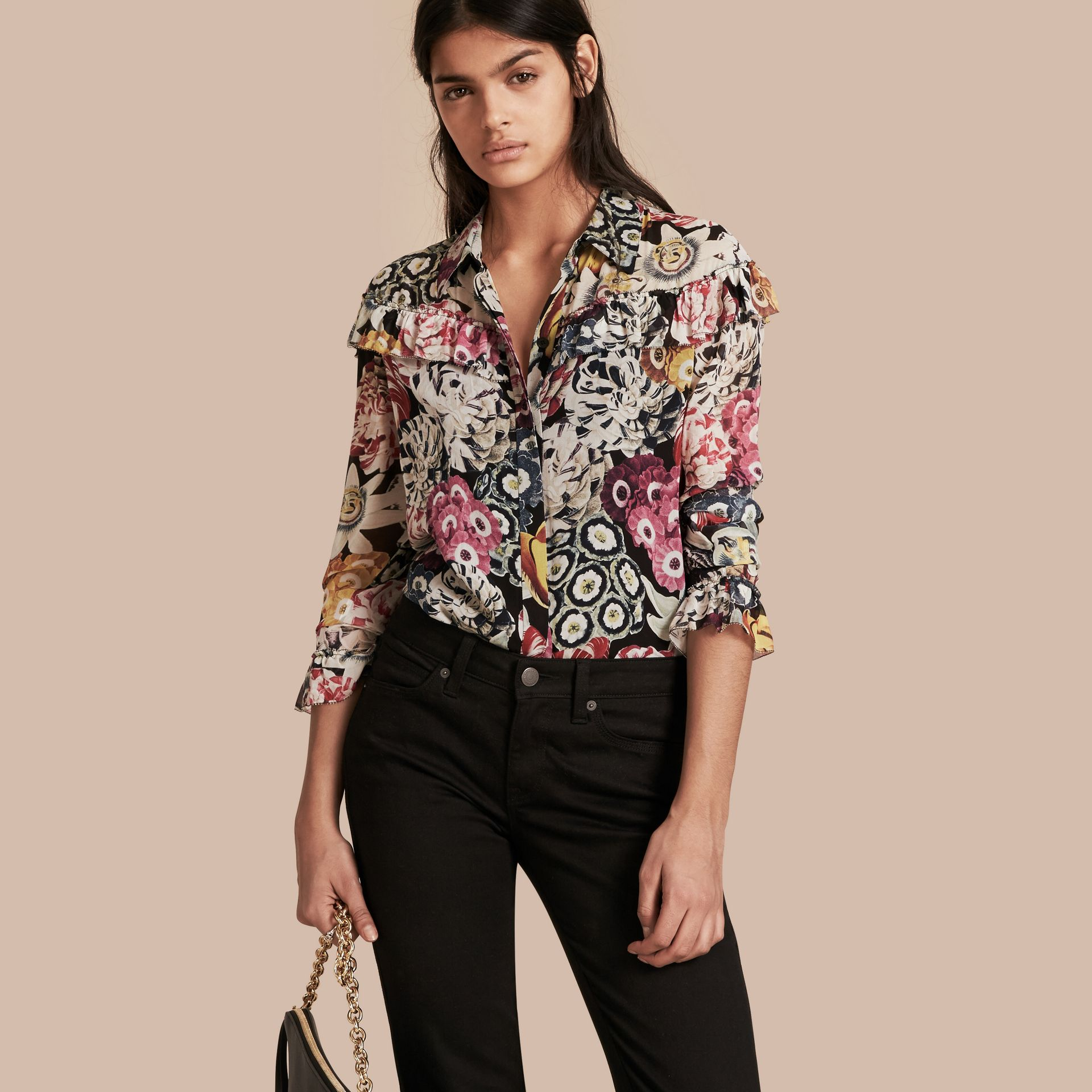 Black Floral Silk Georgette Frill Detail Shirt - gallery image 1