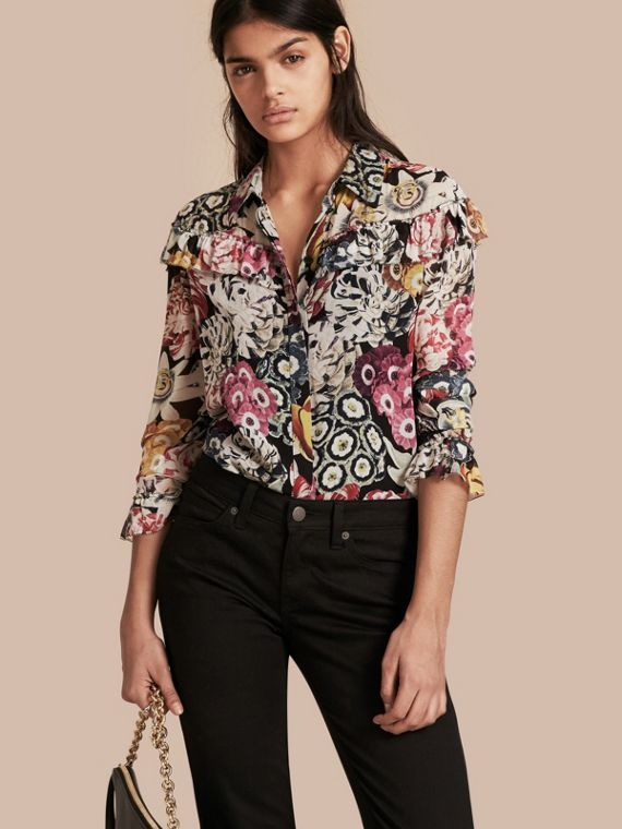 Floral Silk Georgette Frill Detail Shirt