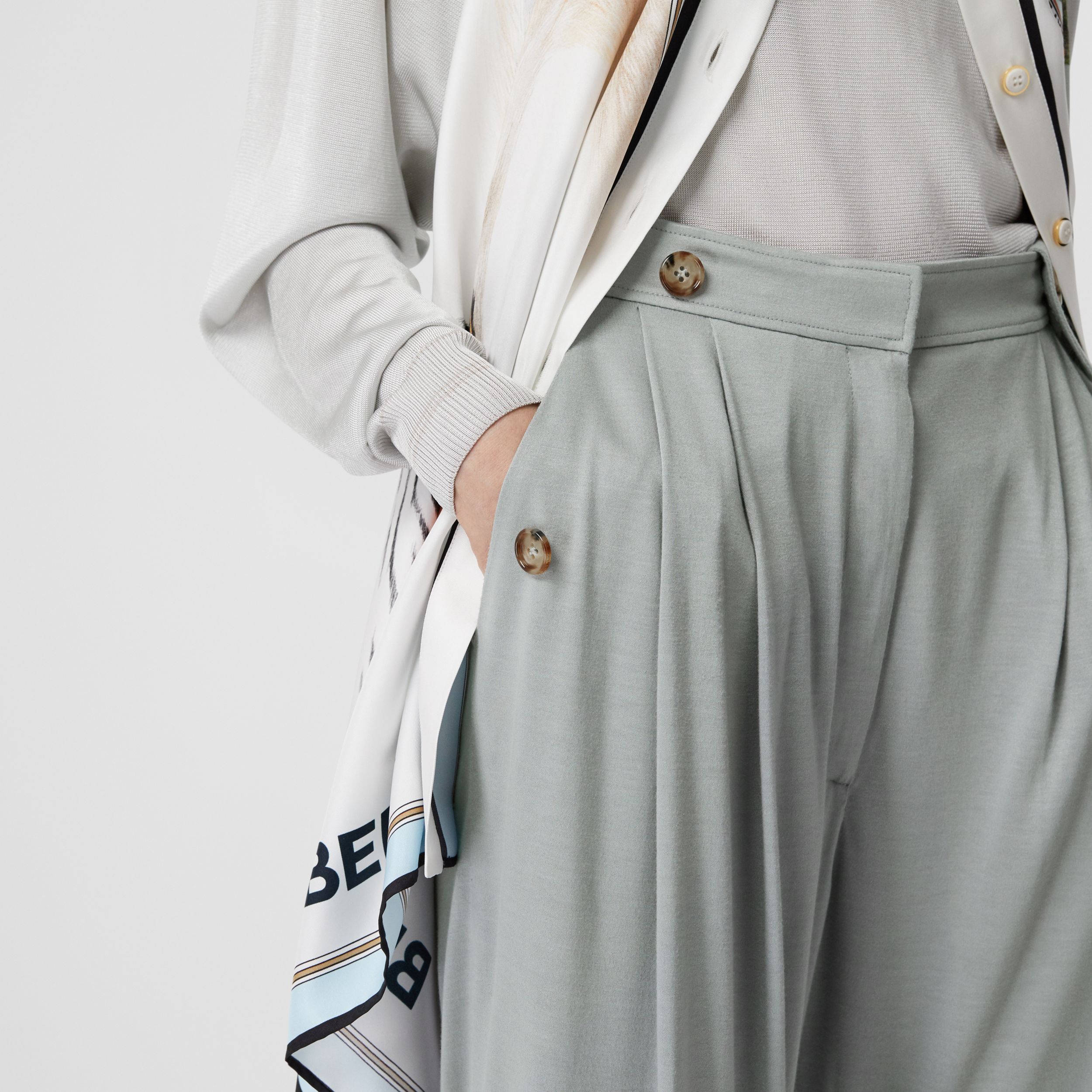 Strap Detail Jersey Tailored Trousers in Heather Melange - Women | Burberry - 2