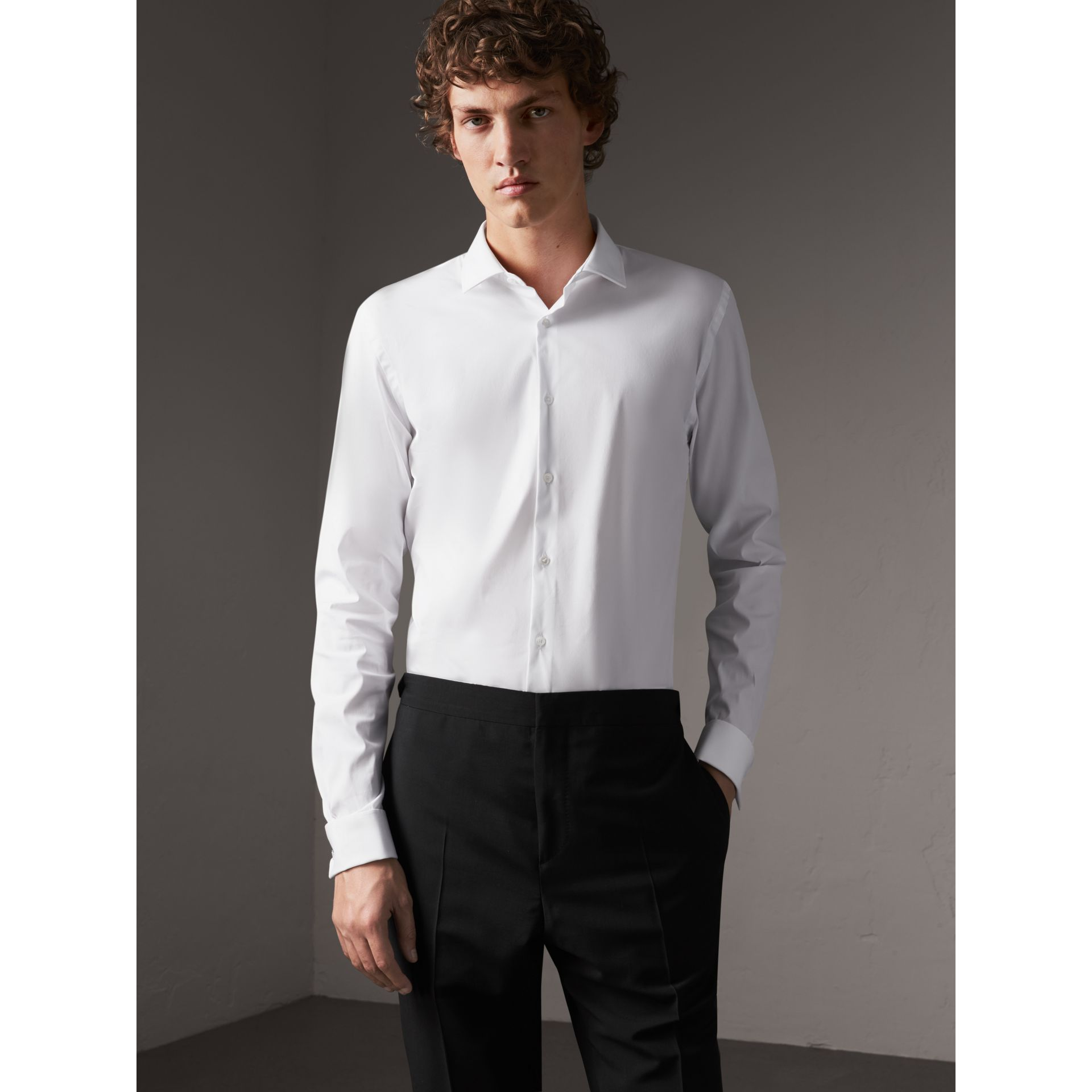 Slim Fit Double-cuff Stretch Cotton Poplin Shirt in White - Men | Burberry - gallery image 1