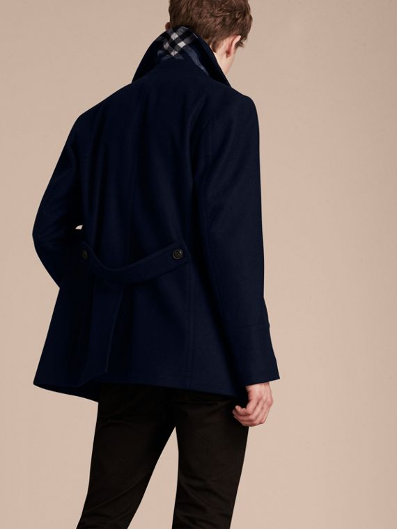 Wool Cashmere Pea Coat in Navy - cell image 2