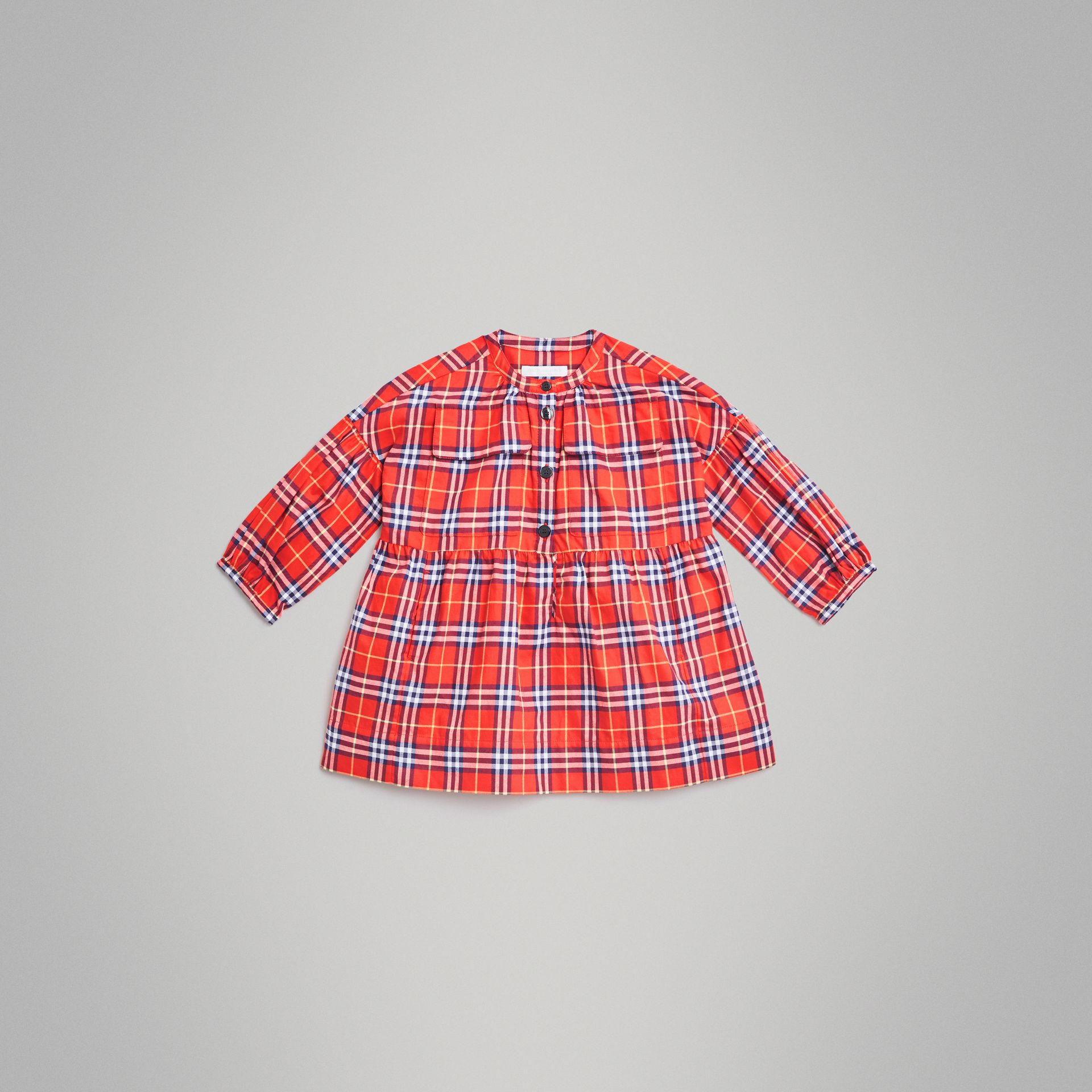 Check Cotton Flannel Dress in Orange Red | Burberry - gallery image 0