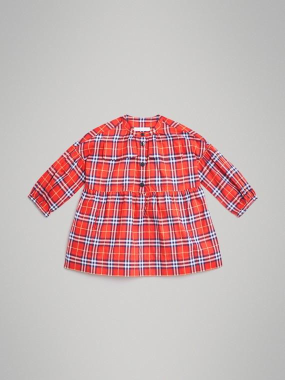 Vestido en franela de algodón a cuadros (Rojo Anaranjado)