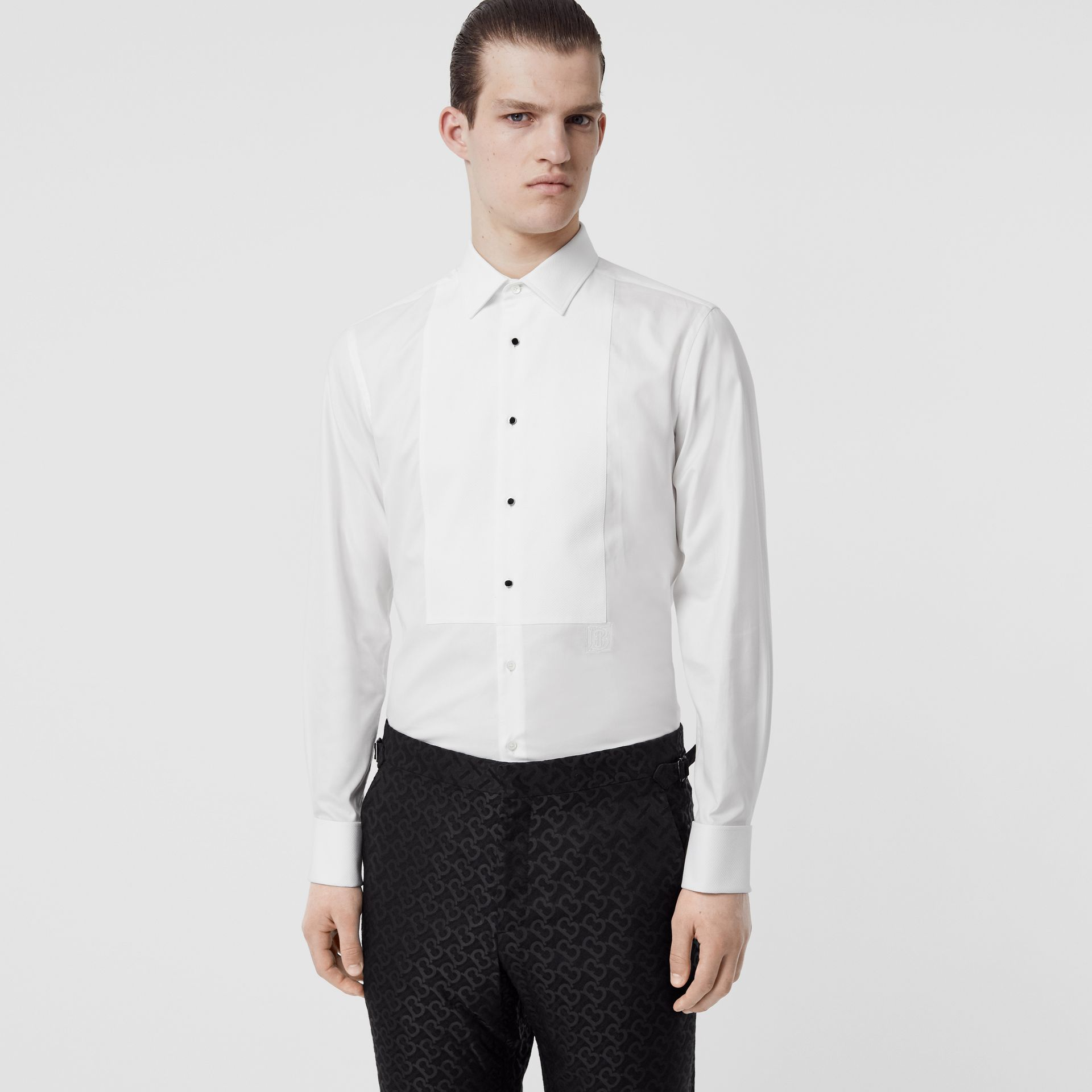 Panelled Bib Cotton Oxford Dress Shirt in White - Men | Burberry Singapore - gallery image 0