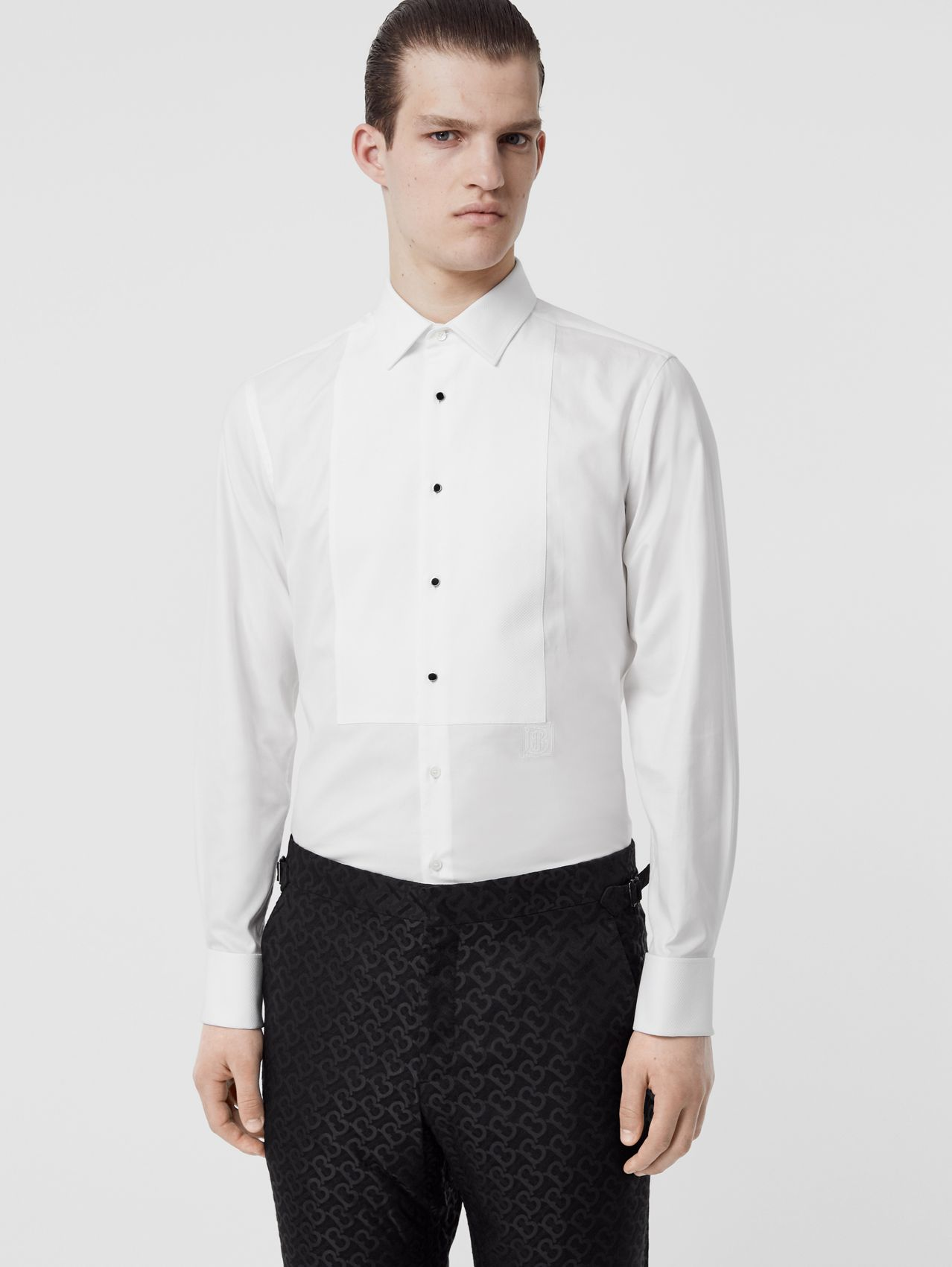 Panelled Bib Cotton Oxford Dress Shirt in White