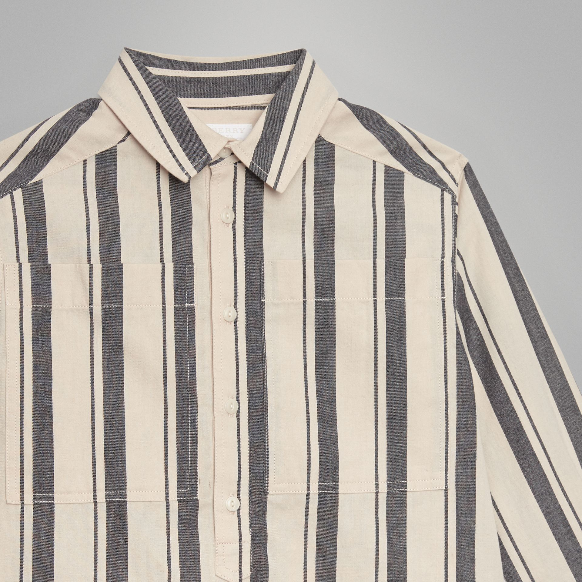 Striped Cotton Wool Shirt in Dark Grey | Burberry Canada - gallery image 4