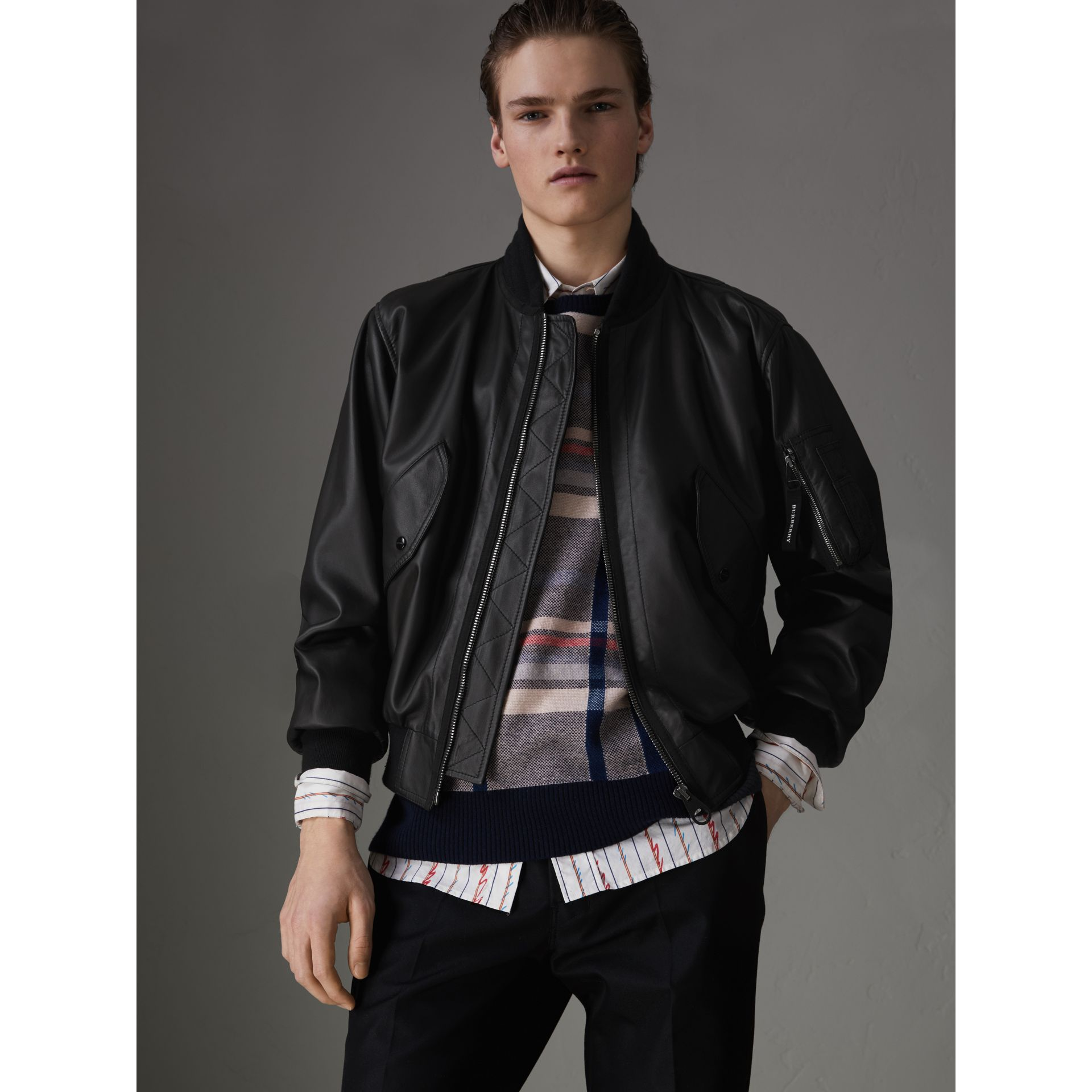 Lambskin Bomber Jacket in Black - Men | Burberry United States - gallery image 4