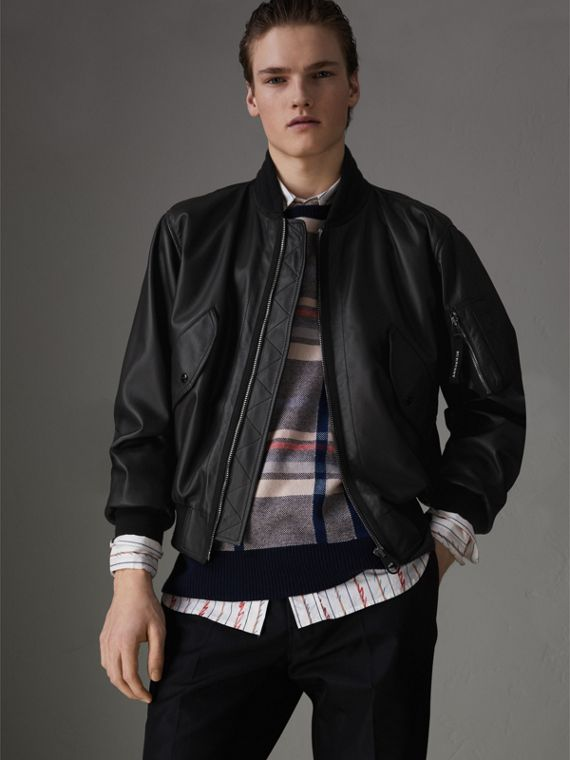 Lambskin Bomber Jacket in Black