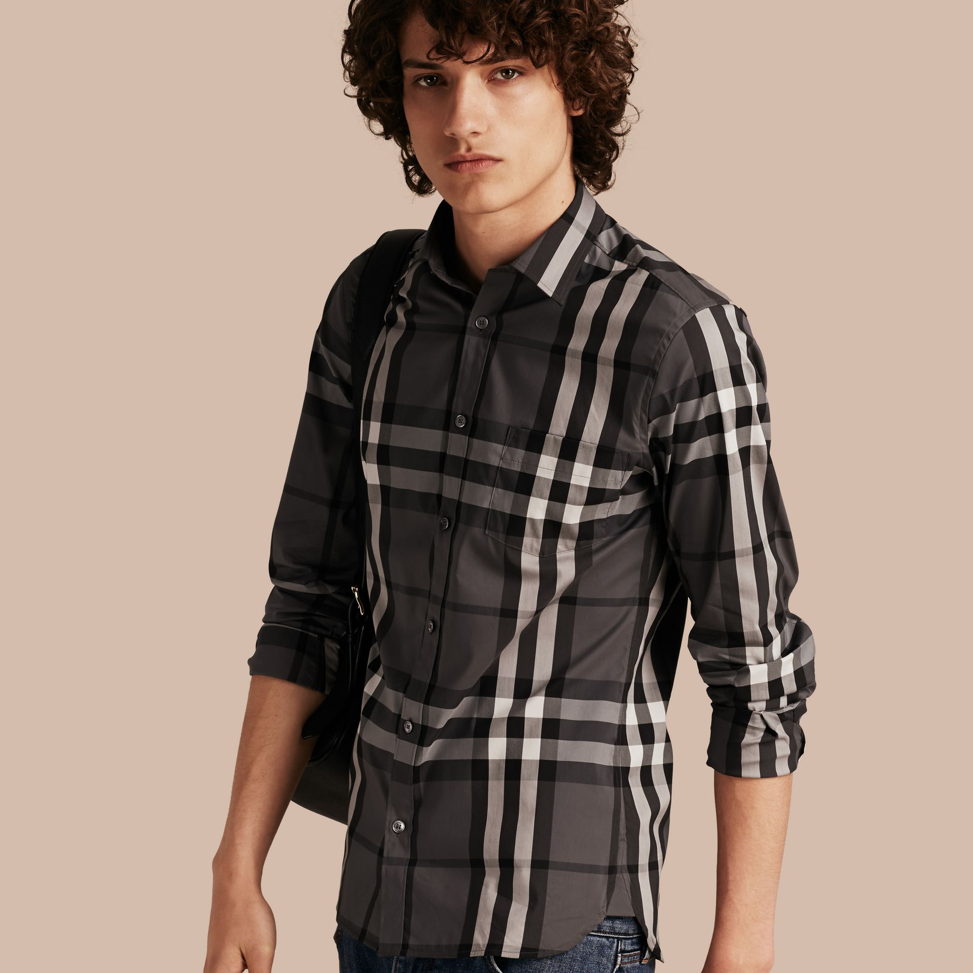 Check Stretch Cotton Shirt in Charcoal - Men | Burberry Australia - gallery image 1