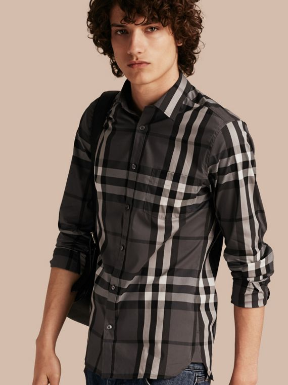 Check Stretch Cotton Shirt Charcoal