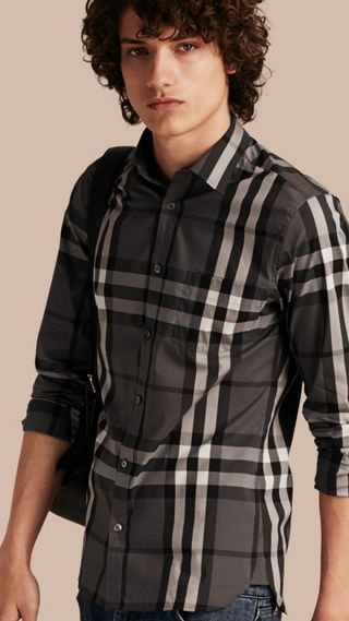 Chemise en coton extensible à motif check