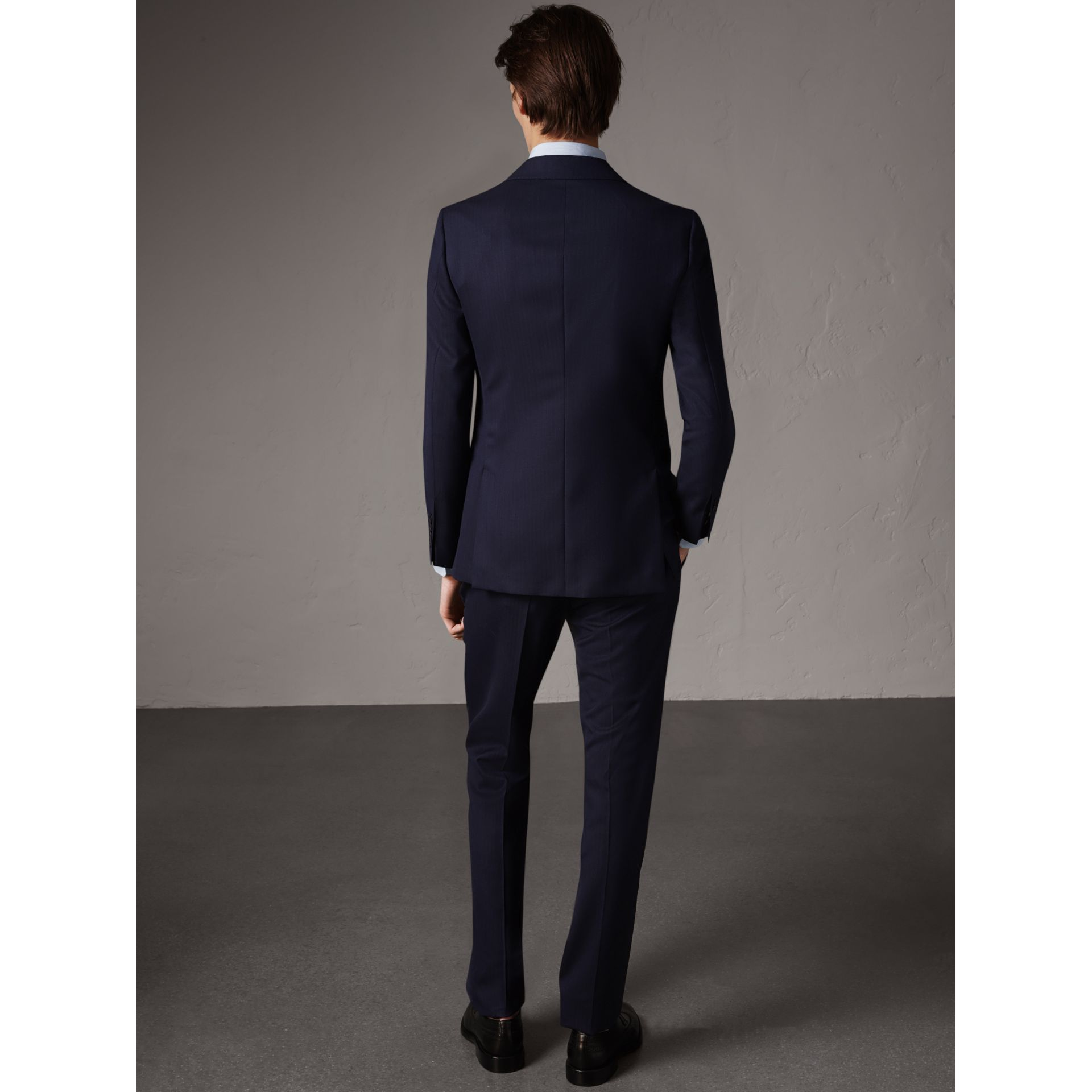 Soho Fit Herringbone Wool Suit in Navy - Men | Burberry - gallery image 2