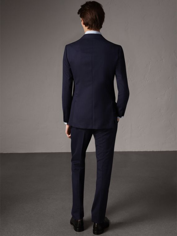 Soho Fit Herringbone Wool Suit in Navy - Men | Burberry - cell image 2