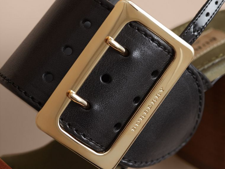 Buckle Detail Leather Sandals in Black - Women | Burberry Canada - cell image 1