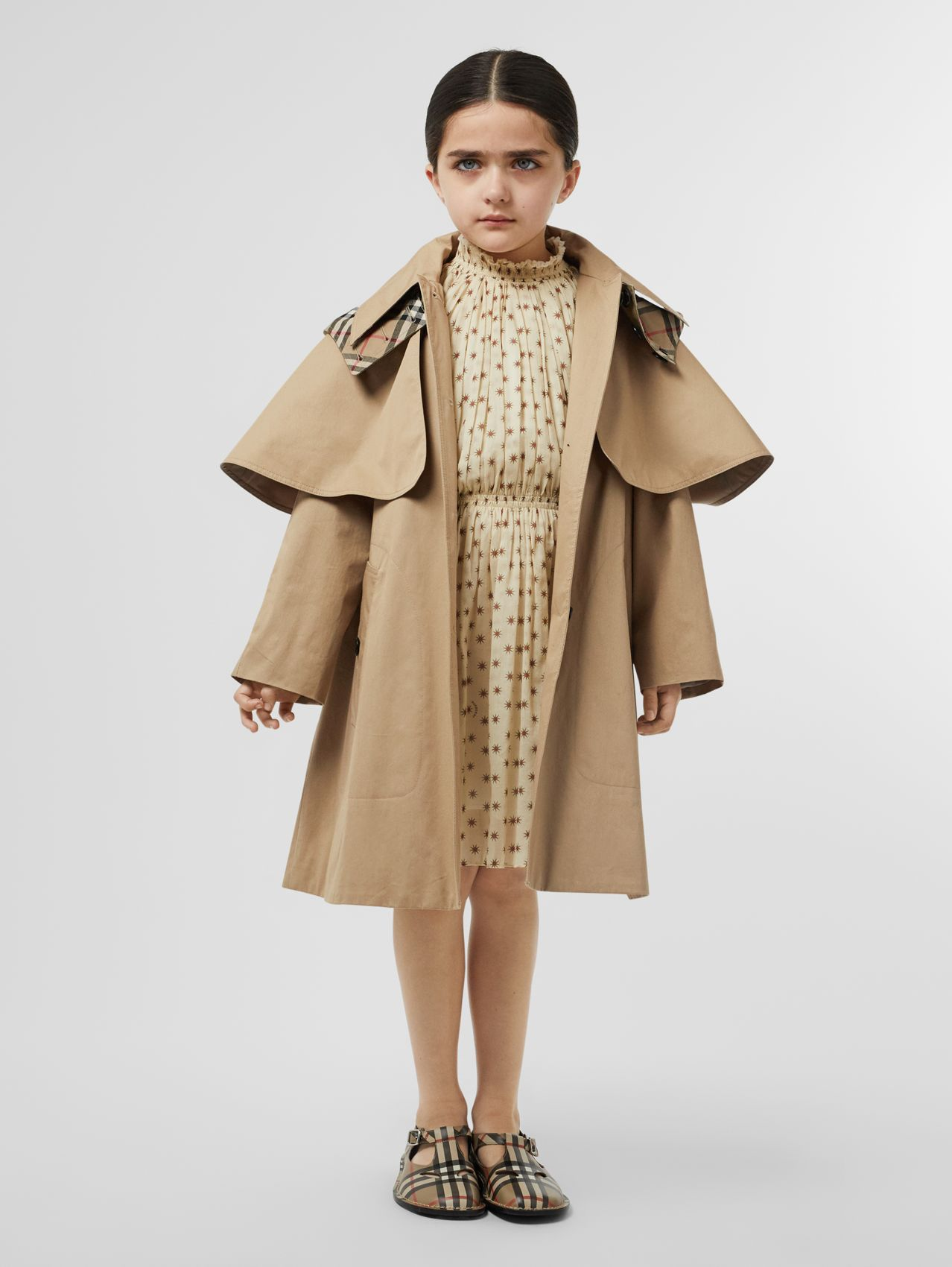 Detachable Hood Showerproof Cotton Swing Coat (Honey)