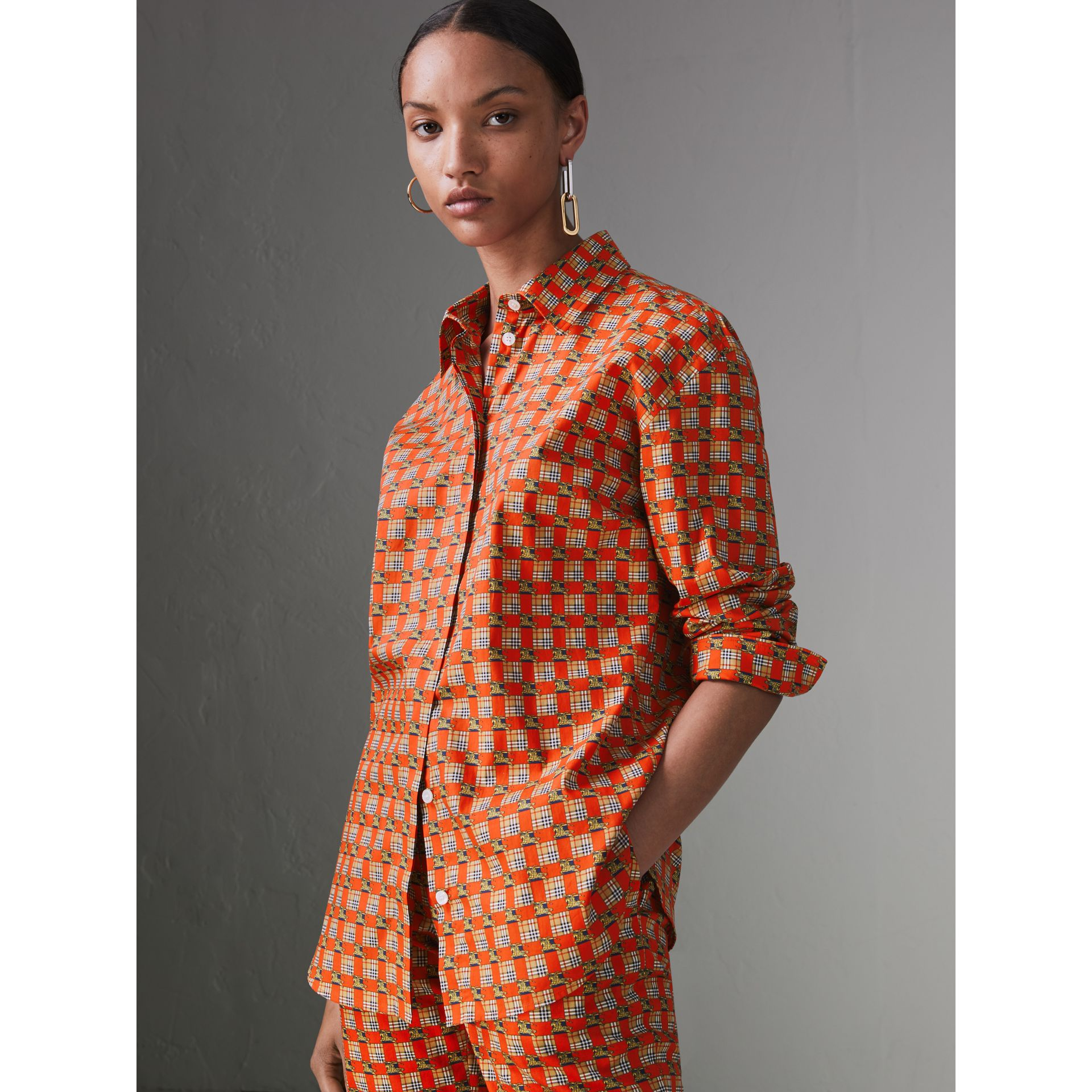 Tiled Archive Print Cotton Shirt in Bright Red - Women | Burberry Australia - gallery image 5