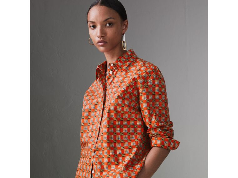 Tiled Archive Print Cotton Shirt in Bright Red - Women | Burberry - cell image 4