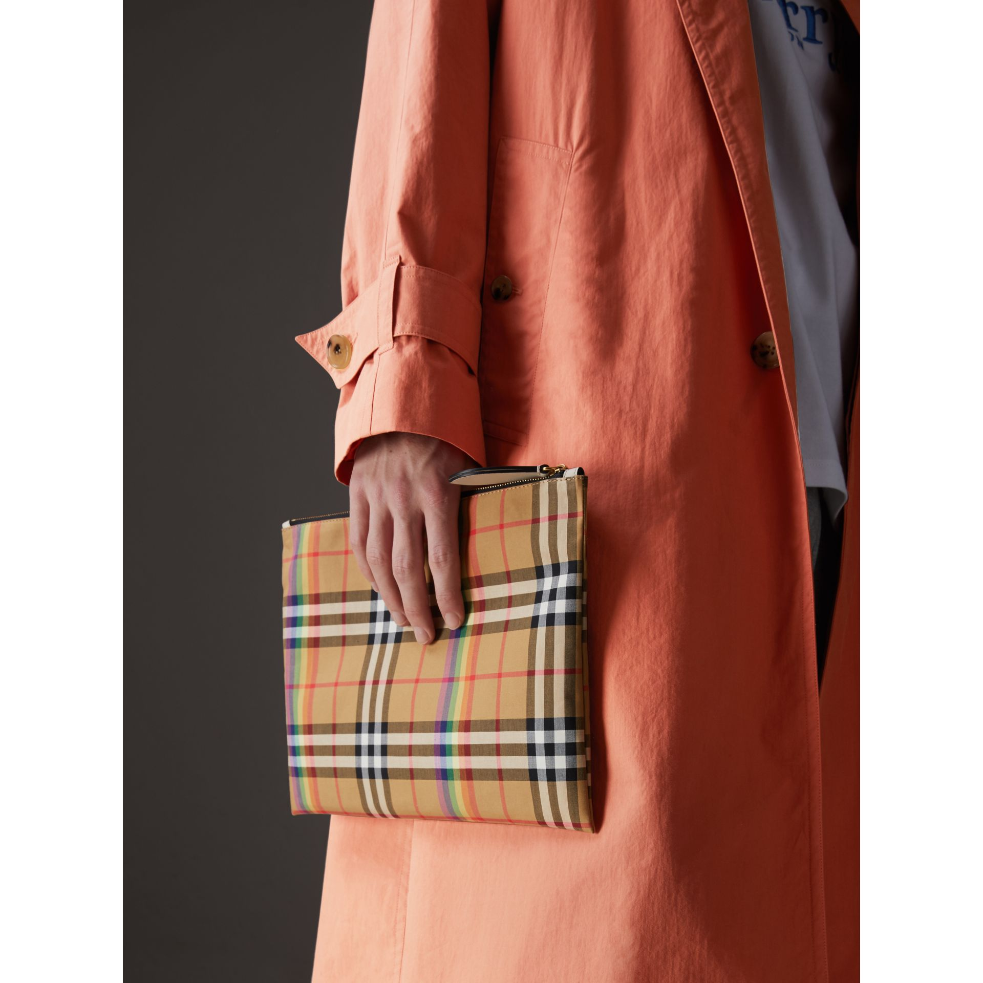 Medium Rainbow Vintage Check Pouch in Natural | Burberry United States - gallery image 5