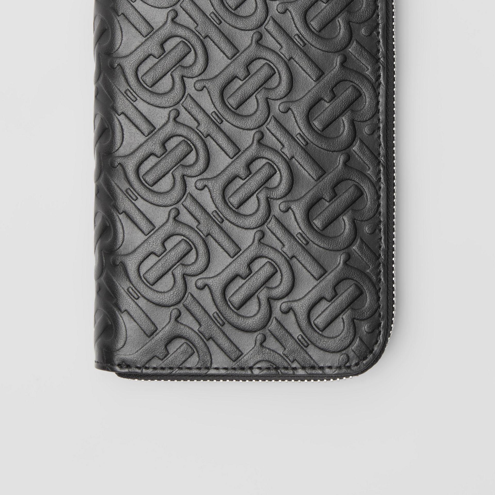Monogram Leather Ziparound Wallet in Black | Burberry Canada - gallery image 1