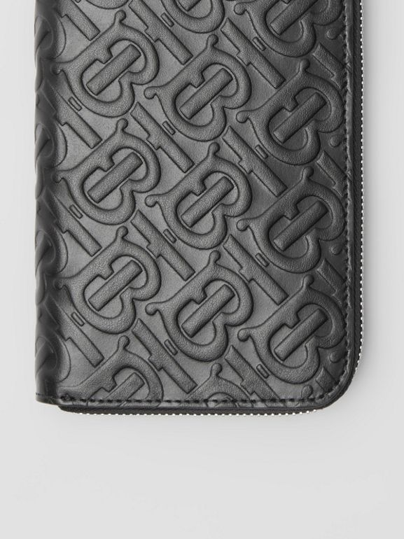 Monogram Leather Ziparound Wallet in Black | Burberry - cell image 1