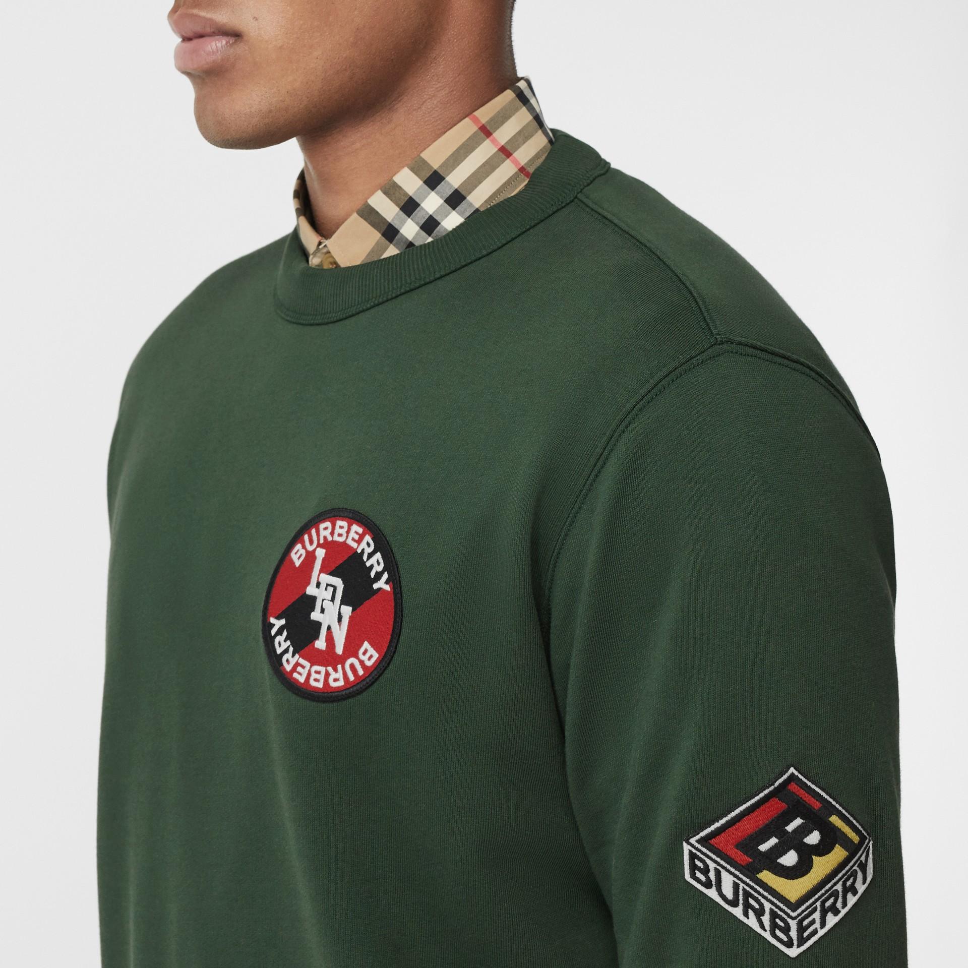 Logo Graphic Cotton Sweatshirt in Dark Pine Green - Men | Burberry - gallery image 1