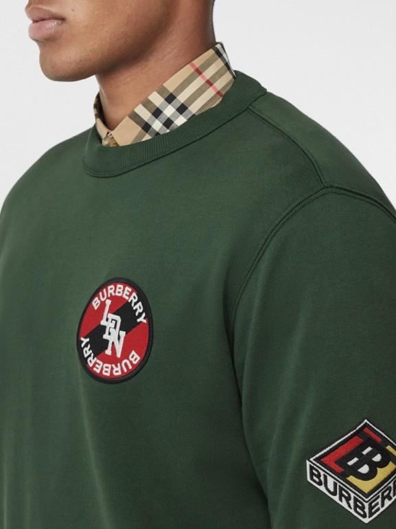 Logo Graphic Cotton Sweatshirt in Dark Pine Green - Men | Burberry - cell image 1