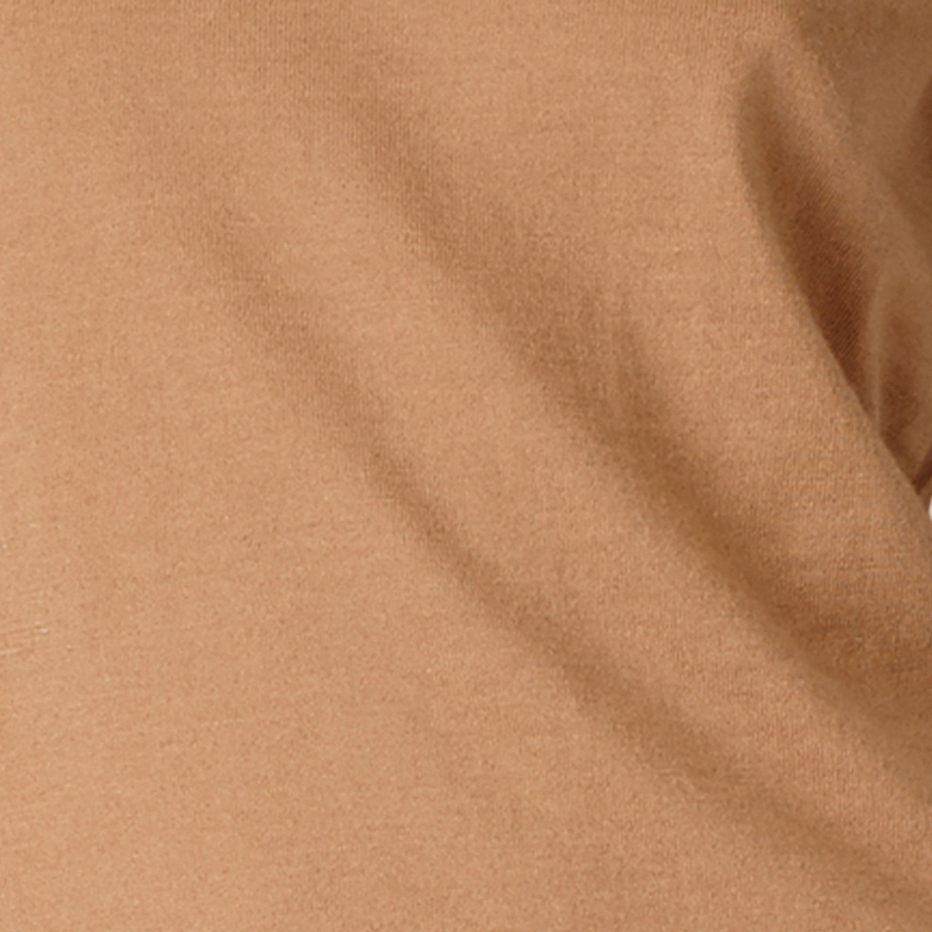 Check Detail Merino Wool Crew Neck Sweater Camel - gallery image 2