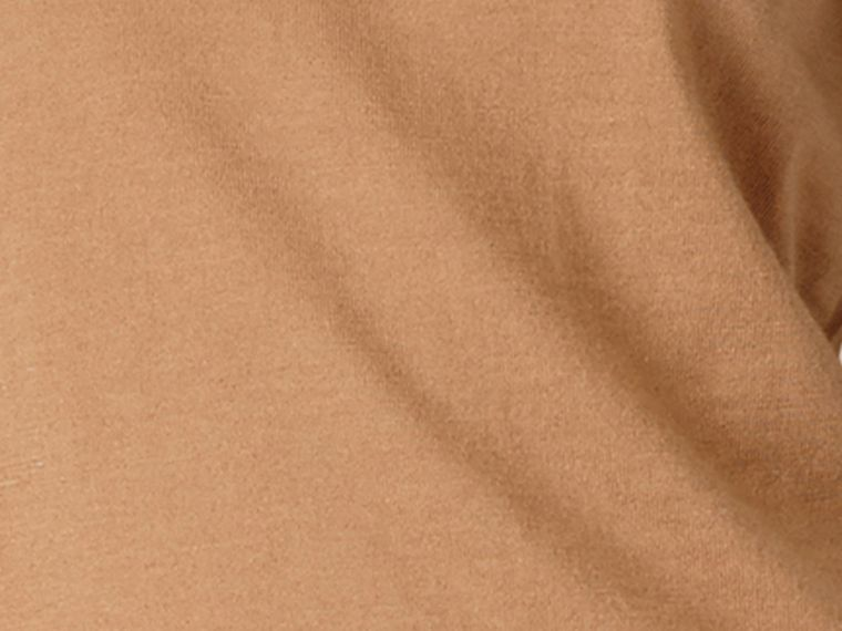 Check Detail Merino Wool Crew Neck Sweater Camel - cell image 1