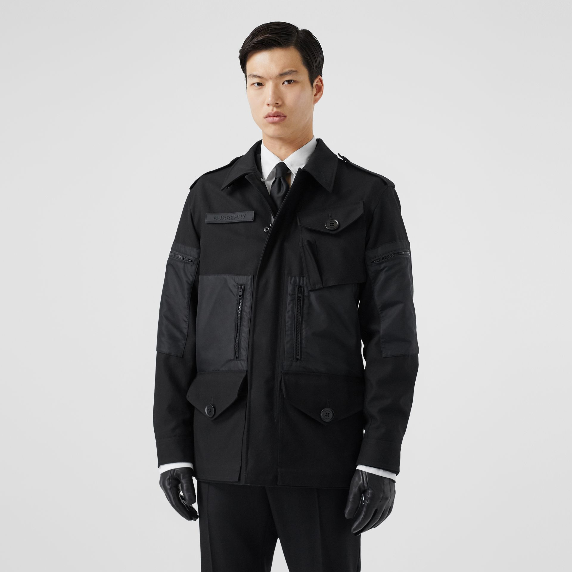 Cotton Gabardine Field Jacket in Black - Men | Burberry - gallery image 5