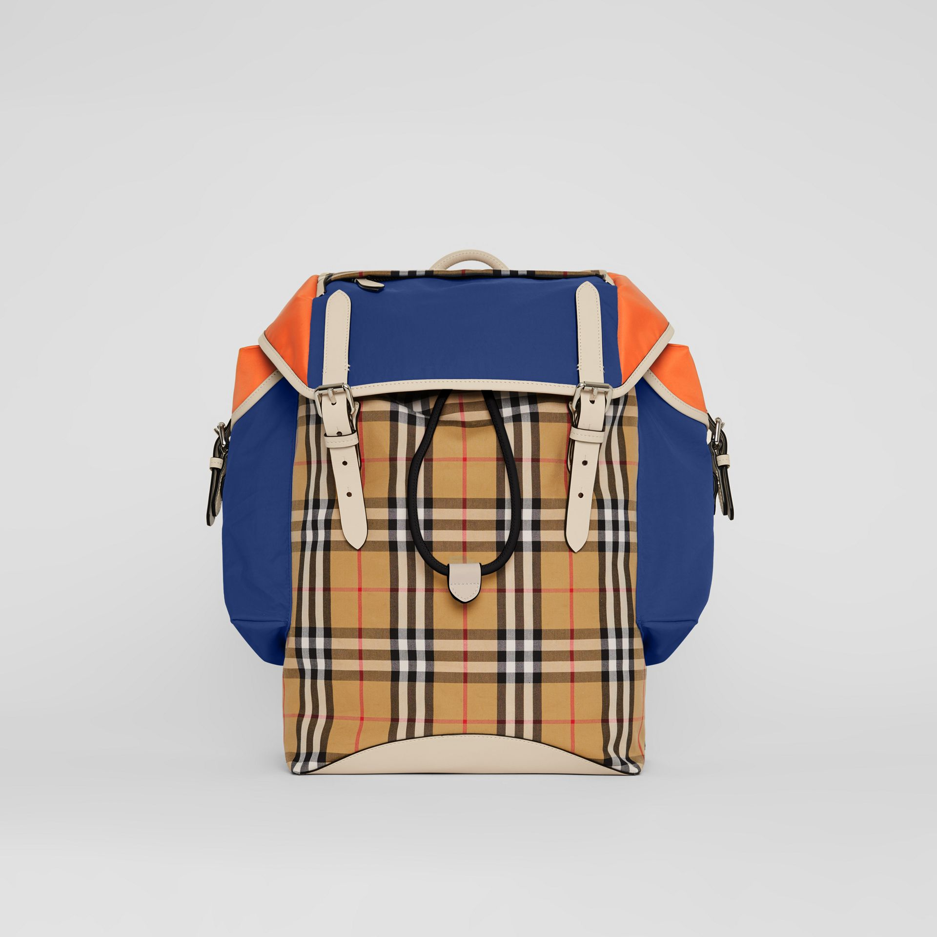 Colour Block Vintage Check and Leather Backpack in Cerulean Blue - Men | Burberry United Kingdom - gallery image 0