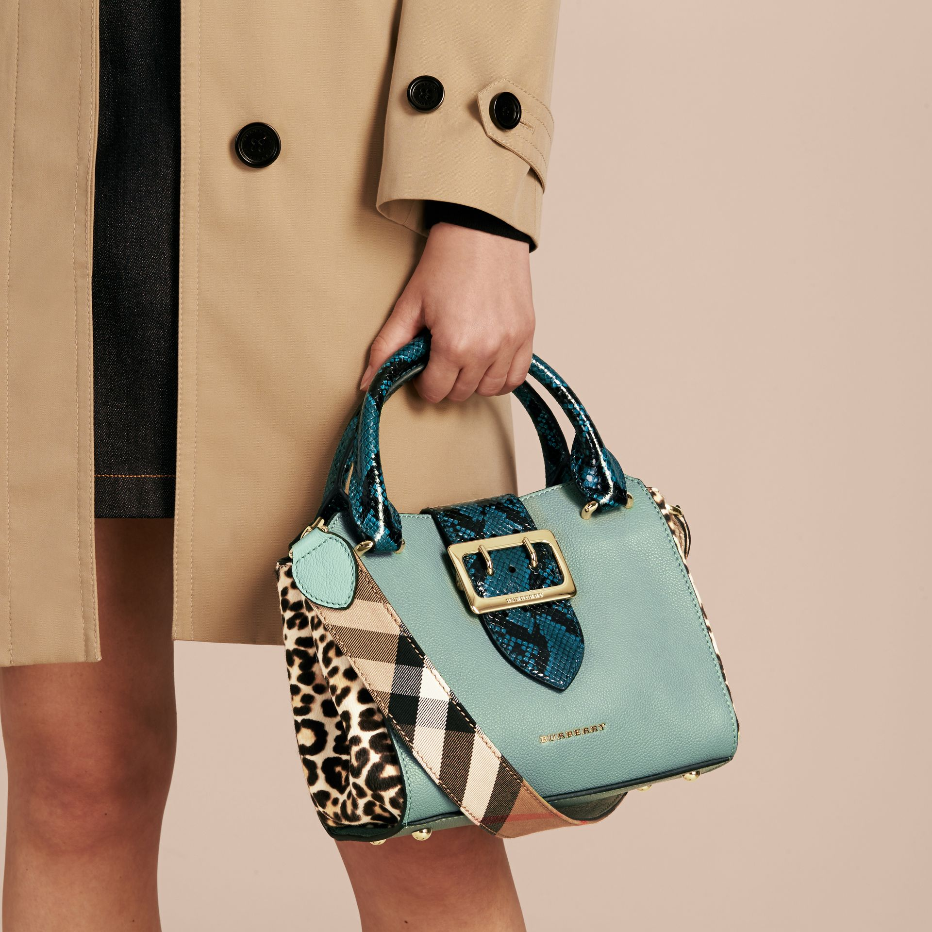The Small Buckle Tote in Leather and  Leopard-print Calfskin Eucalyptus Green - gallery image 4