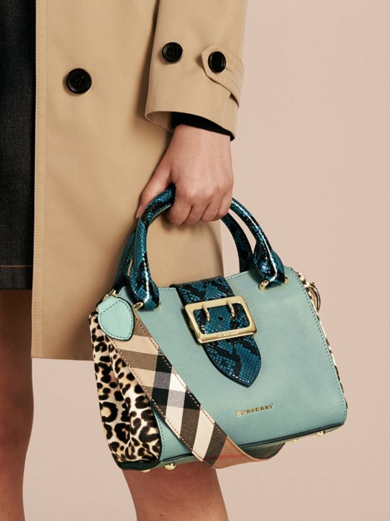 The Small Buckle Tote in Leather and  Leopard-print Calfskin Eucalyptus Green - cell image 3
