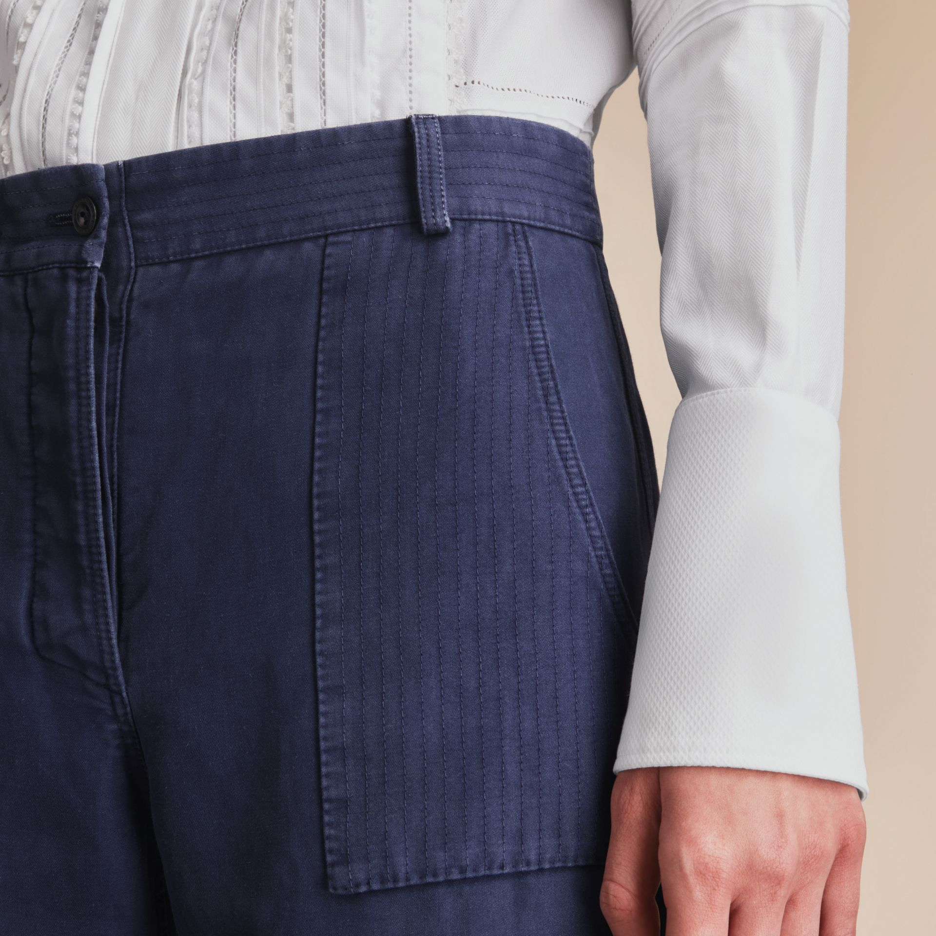 Ramie Cotton Cropped Workwear Trousers in Indigo - Women | Burberry - gallery image 5