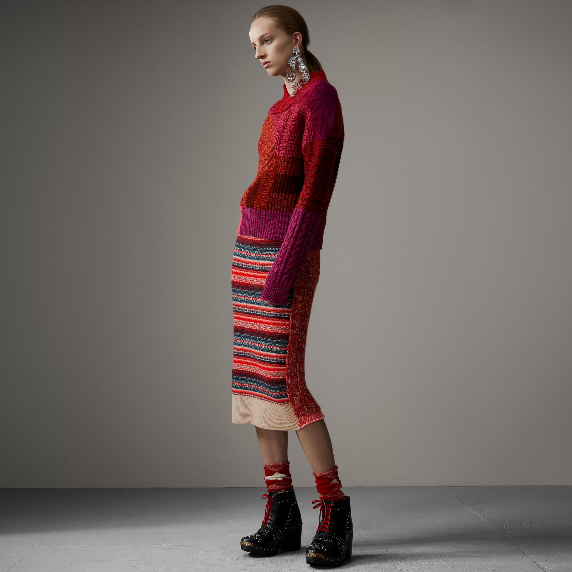 Fair Isle and Cable Knit Wool Cashmere Blend Skirt in Multicolour - Women | Burberry Hong Kong - gallery image 0