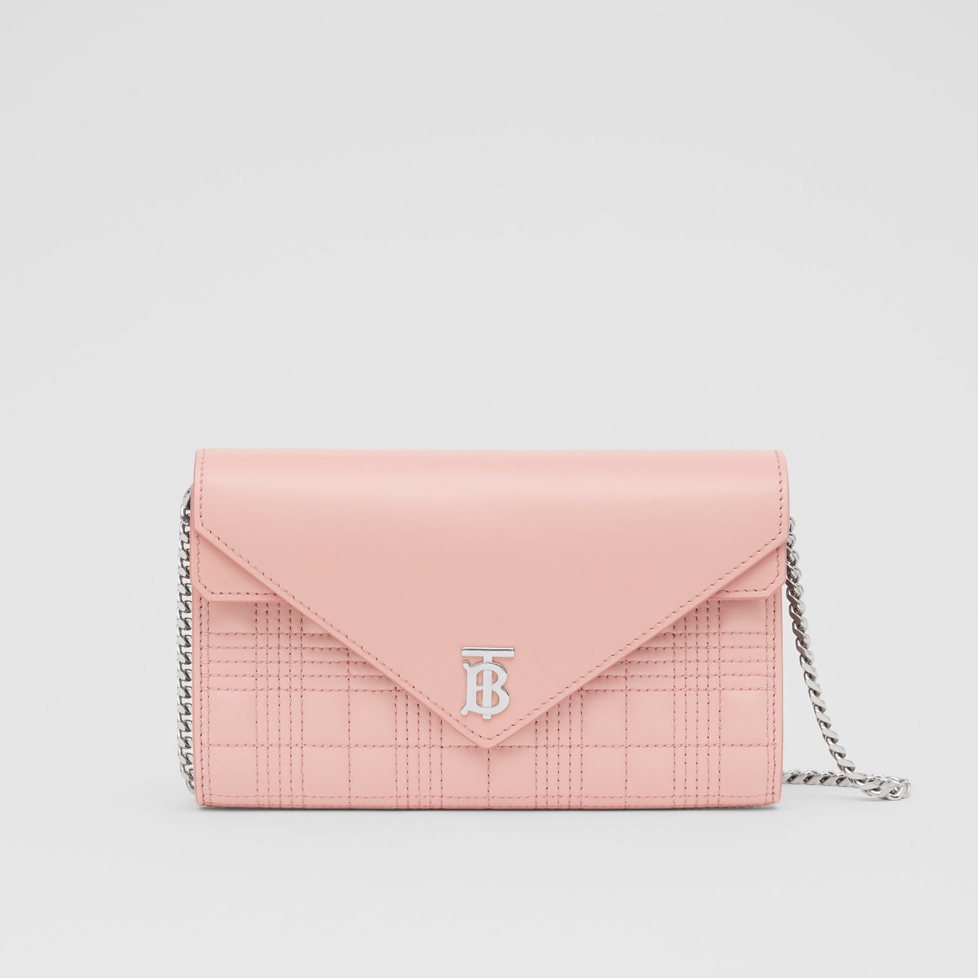 Quilted Lambskin Wallet with Detachable Chain Strap in Blush Pink - Women | Burberry - gallery image 0