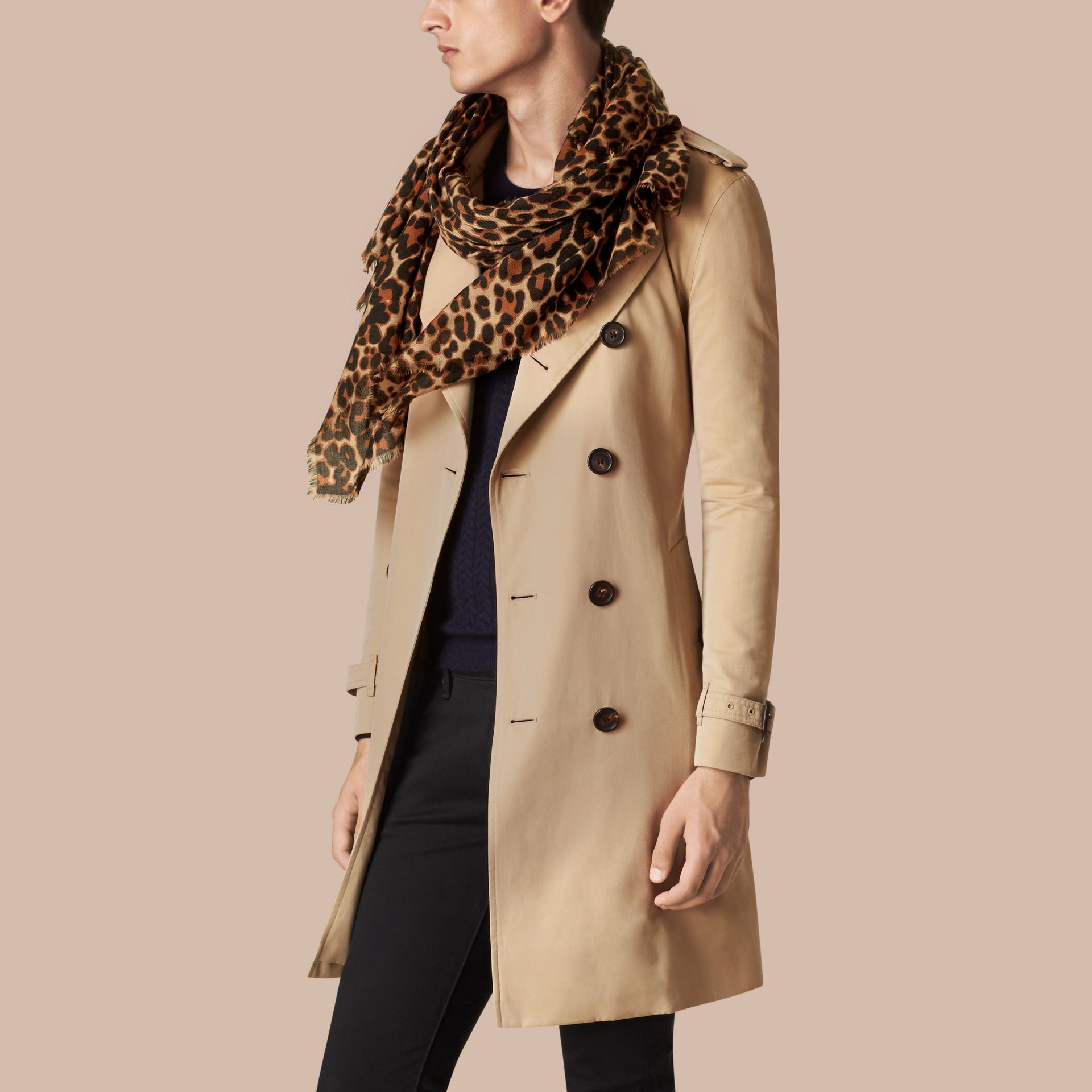 Camel The Lightweight Cashmere Scarf in Animal Print - gallery image 4