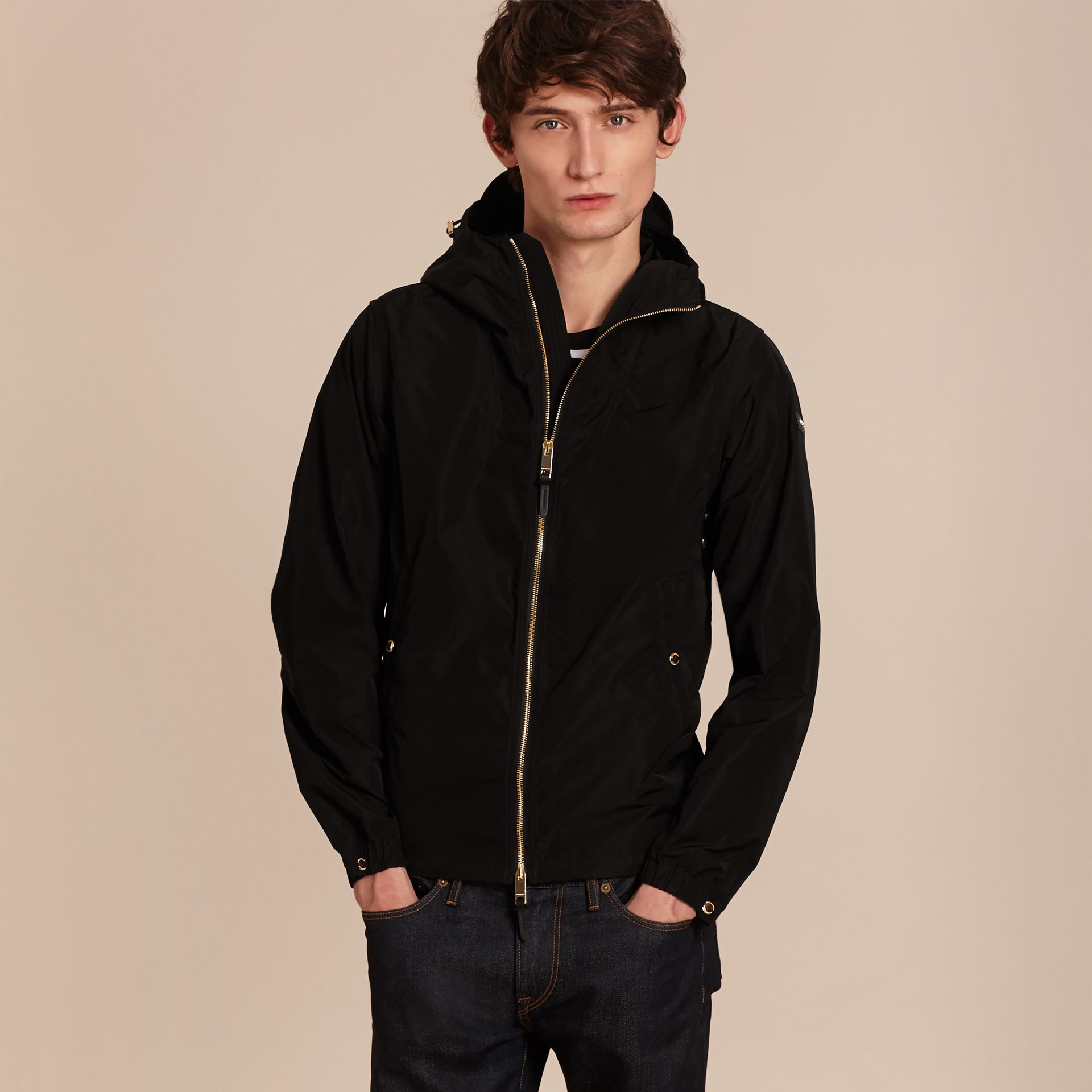 Black Hooded Lightweight Technical Jacket - gallery image 6