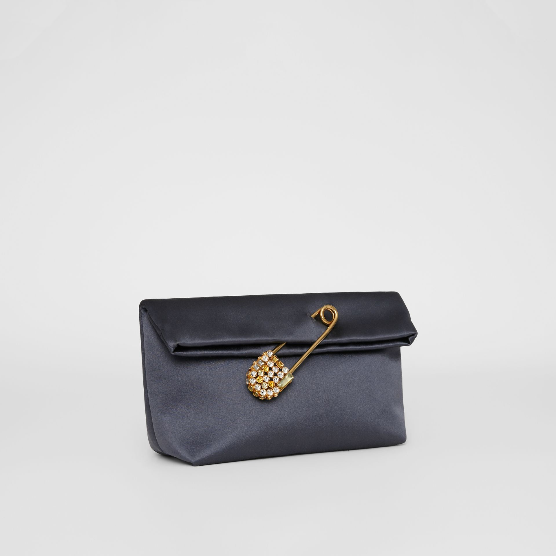 The Small Pin Clutch in Satin in Grey Blue - Women | Burberry United Kingdom - gallery image 4