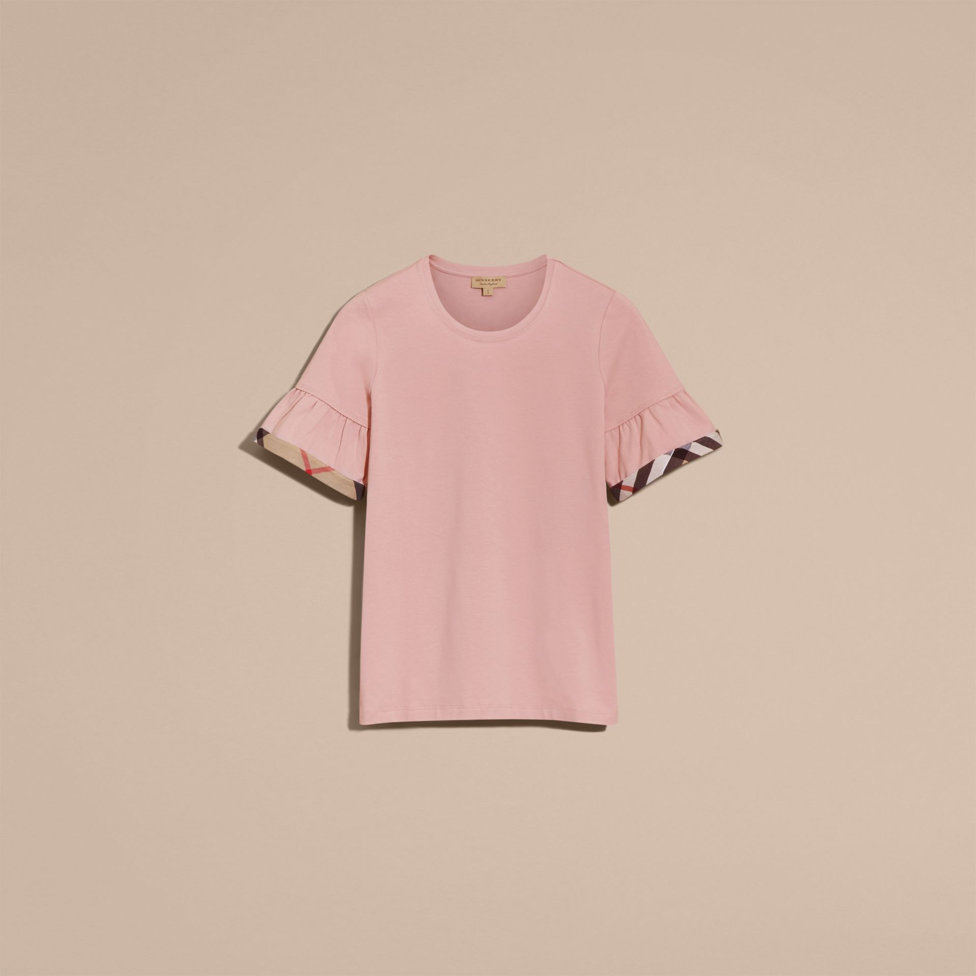 Stretch Cotton T-shirt with Check Trim Ruffles in Ash Rose - gallery image 4
