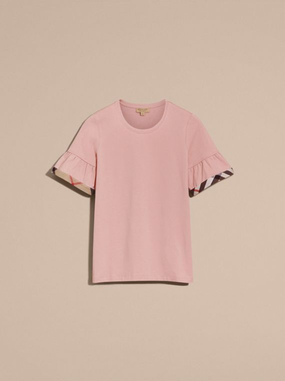 Stretch Cotton T-shirt with Check Trim Ruffles in Ash Rose - cell image 3
