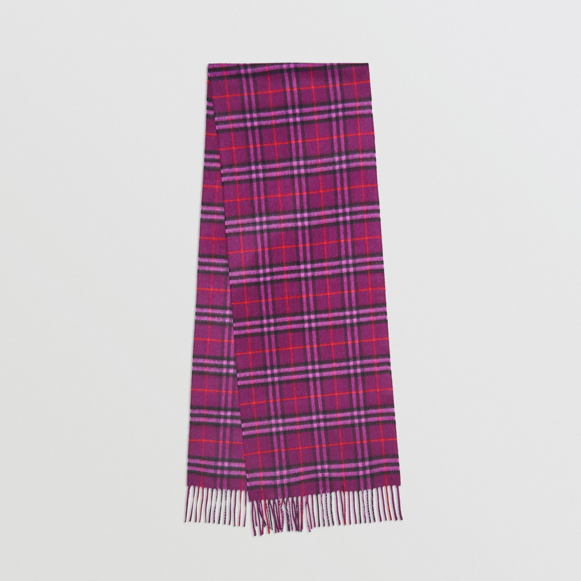 The Classic Vintage Check Cashmere Scarf in Dark Violet | Burberry United Kingdom - gallery image 0