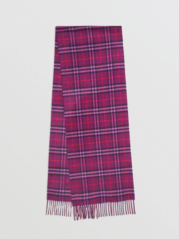 The Classic Vintage Check Cashmere Scarf in Dark Violet