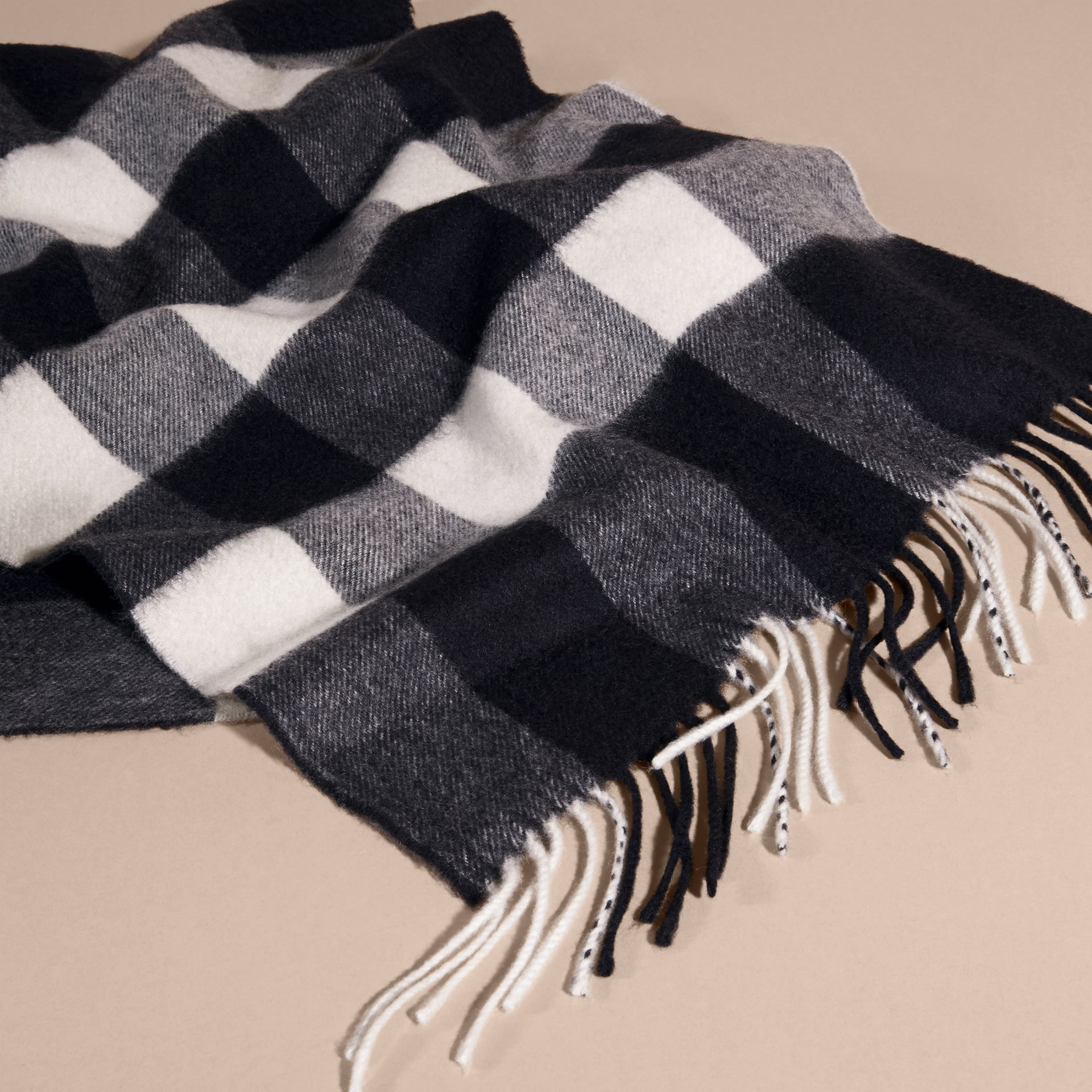 The Large Classic Cashmere Scarf in Check Navy - gallery image 5