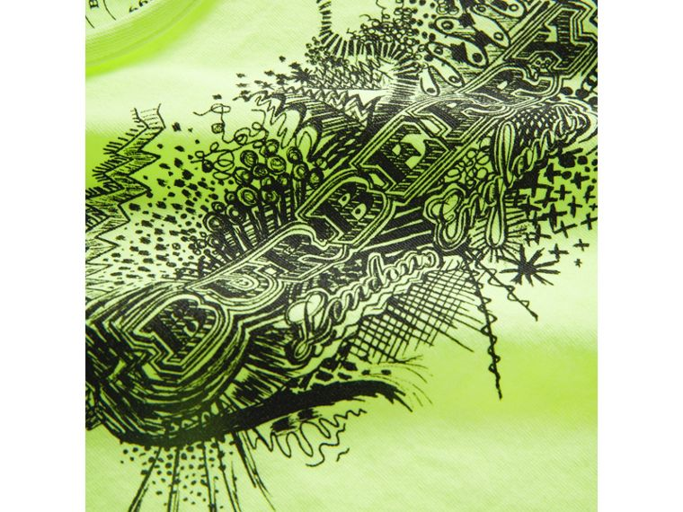 Doodle Print Cotton Jersey T-shirt in Bright Lemon | Burberry - cell image 1